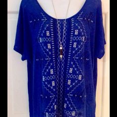 New Cupio Blue Boho Top Large This is a brand new Boho Top by Cupio in blue with white embroidery, size large. This is a very relaxed and comfortable style! Cupio Tops Tees - Short Sleeve