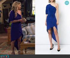 4334fbcca2 DJ s blue one off shoulder asymmetric dress on Fuller House. Outfit  Details  https  WornOnTV