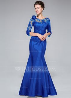 Trumpet/Mermaid Off-the-Shoulder Floor-Length Taffeta Lace Mother of the Bride Dress With Flower(s) (008040831) - JJsHouse