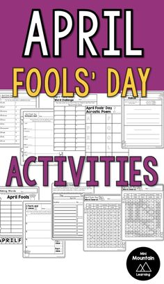 5th Grade Ela, Word Challenge, April Fools Day, 5th Grades, The Fool, Elementary Schools, Coloring Pages, Poems, Classroom