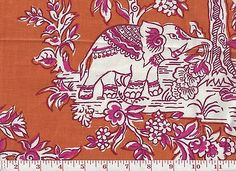 100% Linen  Print Clarence House Hill Brown Fabric Ile des Elephant Apricot Rani
