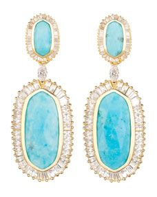 Kendra Scott Baguette Hourglass Earrings in Turquoise Magnesite. Via Diamonds in the Library's jewelry gift guide. Gems Jewelry, Jewelry Gifts, Jewelry Box, Jewelery, Jewelry Accessories, Jewelry Design, Beach Jewelry, Unique Jewelry, Statement Jewelry