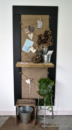 DIY burlap bulletin board with chalkboard frame and shelf