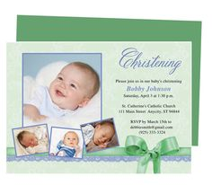 Saint Baby Baptism Invitations Template. Available in green (shown), blue, peach, yellow, pink and yellow. Edit with Word, Publisher, Apple iWork Pages, OpenOffice.