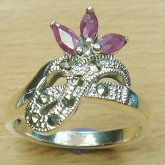 Marquise Cut Three Stones Genuine Ruby Marcasite 925 Sterling Silver Ring