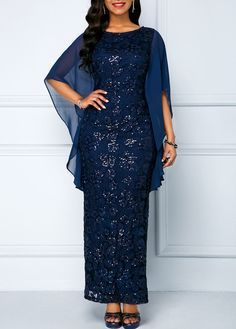 Navy Blue Half Sleeve Chiffon Lace Dress Maxi Dress Sequin New Year Eve Party Dress Sequin Embellished Chiffon Panel Navy Lace Maxi Dress Dresses Elegant, Plus Dresses, Dresses For Sale, Dresses Online, Maxi Dresses, Chiffon Dresses, Evening Dresses, White Chiffon, Chiffon Maxi