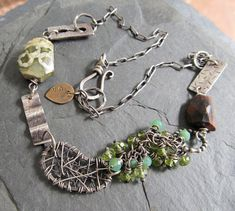 Necklace Choker Sterling silver Green Turquoise