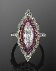Edwardian Marquise Diamond and Ruby Ring, circa 1915 via fredleighton.com - sold