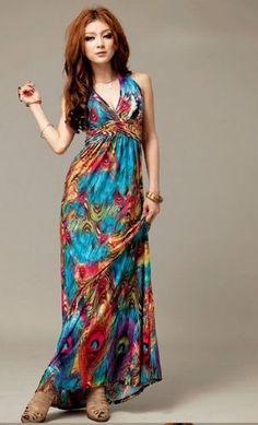 Exotic Bohemian Style Halter Neck Long Dress Skirt with Prints for Women Girl Cheap Dresses, Casual Dresses, Beach Dresses, Maxi Dresses, Ladies Dresses, Dress Beach, Dresses 2013, Affordable Dresses, Stylish Dresses