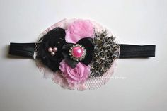 Custom Made Pink, Black Leopard Shabby Flower Headband/Hair Clip
