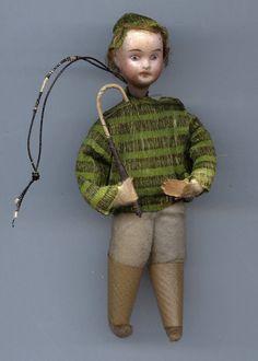 Antique Christmas Ornament Spun Cotton Little Boy Bisque Head Crepe Paper C 1900   eBay