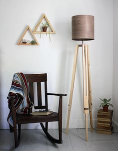 DIY Wooden Tripod Lamp with Veneer Lampshade tutorial @themerrythought