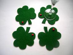 Items similar to Felt Shamrock, St. Patrick's Day, Shamrock coaster, 4 piece on Etsy Felt Diy, Felt Crafts, Diy And Crafts, Cool Coasters, Felt Coasters, Diy Projects Handmade, Craft Projects, St. Patricks Day, Felt Fabric