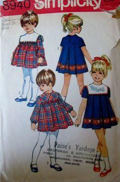 Simplicity 8940 Girls 70s Dress Detachable Collar by Denisecraft, $7.99