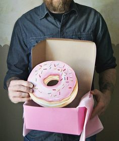 Pink frosted doughnut with sprinkles diecut (wood plaque)