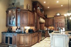 for color combo considerations..dark counters around outside..island in cream and cream counter