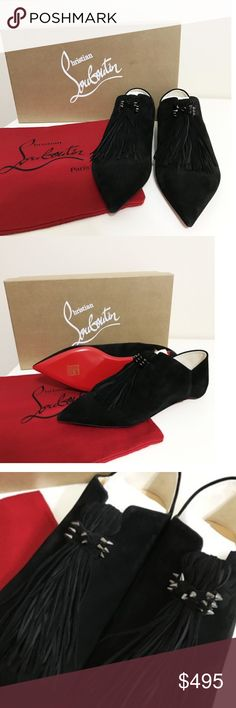 Christian Louboutin New Medina suede tassel flats New Mdinana suede tassel fringe flat slippers in black. This item has original tags and shows no signs of wear. It's new with tags. Black suede, convertible design allows the heel to be worn up or folded down. Pointed toe. Slip-on style. Christian Louboutin Shoes Mules & Clogs