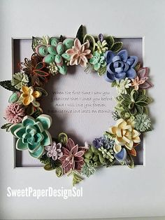 Quilling Paper Art. Succulent plant Wreath Gift.Deep Framed Art. Handmade. Personal Gift.Wedding Gift. Anniversary Gift.Home Deco