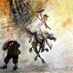 Don Quichotte Sancho et Rossinante Le Grand Moulin - Marcel Pajot Marcel, Monuments, Caballero Andante, Man Of La Mancha, Dom Quixote, Don Miguel, Honore Daumier, Gustave Dore, Great Novels