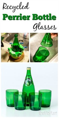 This is a guide about making recycled Perrier bottle glasses. The beautiful jade green of Perrier bottles makes them a great choice for making drinking glasses.