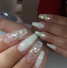 trendy glitter coffin nails style designs inspired you in fall season We collected more than 50 trendy glitter coffin nails style for you. If you are looking for coffin idea, you can read this article. Posh Nails, Polygel Nails, Clear Acrylic Nails, Summer Acrylic Nails, White Acrylic Nails With Glitter, Clear Glitter Nails, Coffin Nails Glitter, Spring Nails, Summer Nails