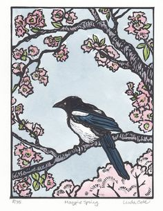 Hey, I found this really awesome Etsy listing at https://www.etsy.com/listing/204558013/magpie-spring-linocut-hand-pulled-fine