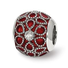 Sterling Silver Jewelry Stones /& Crystals Beads Solid 10.00 mm 11.82 mm Reflections Dark Red CZ Heart Bead