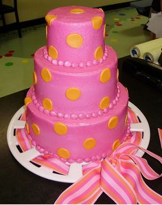 This is the cake we chose for Krissa's hot pink and orange 1st birthday party! (Only it was just two tiers, $105)