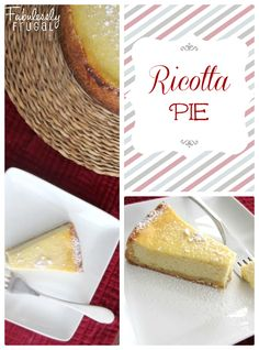 Ricotta Pie Recipe. Similar to New York Style cheesecake, but lighter and less sweet. Common Italian American dessert for Christmas or Easter.