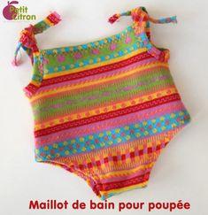 Maillot de bain 1 pièce pour poupée - http://www.petitcitron.com/index.php/patrons-de-couture/vetements-de-poupee/maillot-de-bain-1-piece-pour-poupee#.VKbPiHs1YtQ