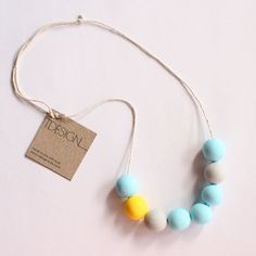 Bubble Necklace Sunshine  sun yellow blue and grey by tdesignstore, $40.00