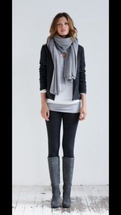 Simple and modern look for fall. Black skinnies, white tee layered with grey scarf, black jacket and grey boots. Stitch Fix Fall to Winter Fashion This post contains affiliate links through which I may be compensated
