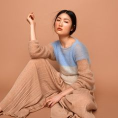 Mohair knit sweater pale blue cream camel handmade fashion knitwear by SABRINA WEIGT Fluffy Sweater, Mohair Sweater, Knitwear Fashion, Knit Fashion, Dress Fashion, Pull Mohair, German Fashion, Knit Pants, Mode Inspiration