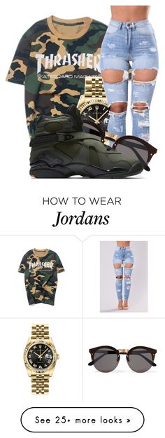 """You Belong to Somebody else~Jacquees and Dej Loaf"" by princessjay003 on Polyvore featuring WithChic, Rolex, Illesteva and NIKE"