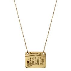 the calendar necklace in yellow or white gold