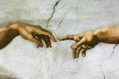 THE CREATION OF MAN (Detail from the Ceiling of the Sistine Chapel) ARTIST: Michaelangelo YEAR: 1508 - 1512 LOCATION: Sistine Chapel, Holy See, Rome, Italy TYPE: Fresco DIMENSIONS: Panels