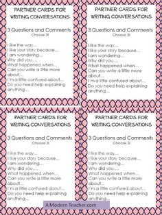 Writing conference conversation starters for kids