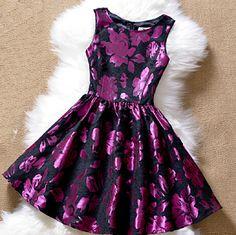 Fashion embroidery round neck sleeveless princess dress #100104AD