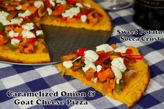 carmelized onion & goat cheese pizza with a sweet potato socca crust via @The Lean Green Bean