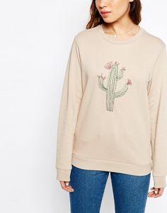 Image 3 ofASOS Sweatshirt With Embroidered Cactus