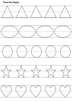 Basic Shapes Worksheets For Tracing Shape Worksheets For Preschool, Alphabet Tracing Worksheets, Shapes Worksheets, Preschool Writing, Preschool Learning Activities, Preschool Printables, Kindergarten Worksheets, Kindergarten Shapes, Kids Worksheets