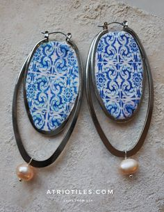 Portugal  Antique Azulejo Tile Replica Loop Earrings with by Atrio