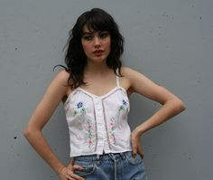 Simple vintage Embroidered Cutwork White Cotton Summer Tank