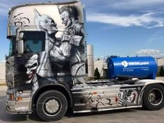 Airbrushed trucks are more impressive than anything at art displays : theCHIVE Customised Trucks, Custom Trucks, Show Trucks, Big Rig Trucks, Mercedes Benz Cl, Gas Monkey Garage, Custom Big Rigs, Trucks And Girls, Futuristic Cars