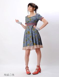 Babydoll Pointy collar dress in Blue, Pink, yellow floral and lace
