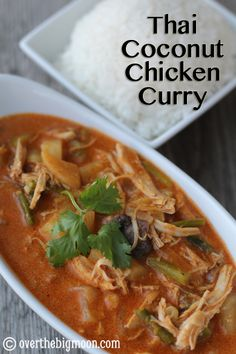 Thai Coconut Chicken Curry - this recipe is so tasty!  From www.overthebigmoon.com!