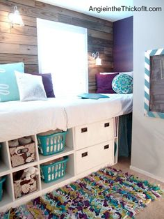Double Wide Double High Day Bed: Compact guest quarters on 1 side of room like study great for teens to Could do lower for small tots/seniors. love this idea for my room. My New Room, My Room, Girl Room, Awesome Bedrooms, Cool Rooms, Dream Rooms, Dream Bedroom, Diy Room Decor, Bedroom Decor