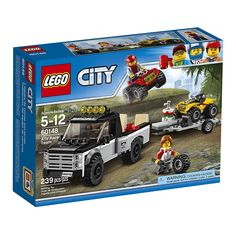 Get ready to race with the LEGO city ATV race team. Pickup truck features a pickup bed with room for an ATV, trailer hitch and a ramp, trailer features space up front for an extra wheel and ramp. Lego City Sets, Lego Sets, Legos, Quad, Toy Pickup Trucks, Jeep Pickup, Bateau Lego, Van Lego, Atv Car