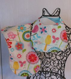 Pink yellow and aqua birds and flowers bib by alwaysandforeversew