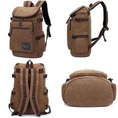 Retro Zipper Men s Canvas Travel Backpack Large Capacity Camping Bag School Laptop  Backpack ac7d86e05b795
